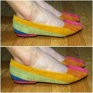 Vintage Suede Colorful Color block Flats Retro 80s